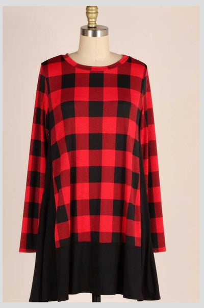 CP-M {When I'm With You} Red/Black Buffalo Plaid Tunic