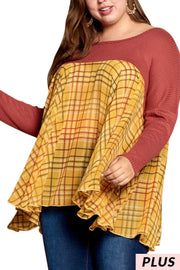CP-A {Stick With Me} Rust Top with Mustard Plaid Contrast