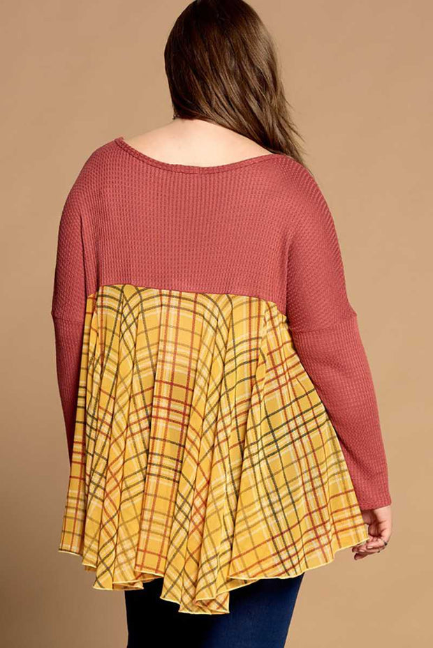 CP-A {Stick With Me} Rust Top with Mustard Plaid Contrast SALE!!