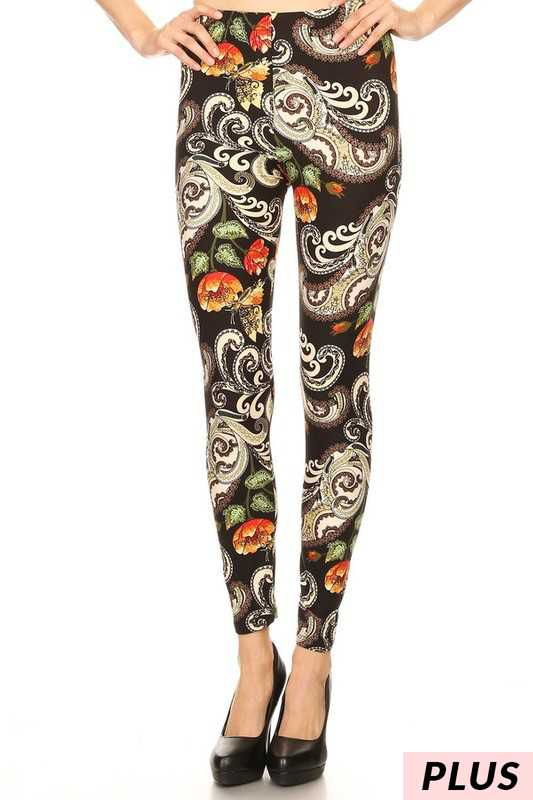 BT-11 {Dandy Choice} Paisley Floral Soft Leggings