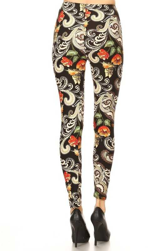 BT-10 {Dandy Choice} Paisley Floral Soft Leggings