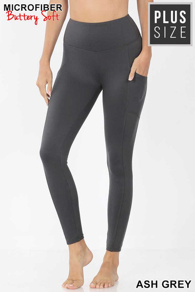 Leg-16 {Soft Delight} Charcoal Active Leggings PLUS SIZE XL 2X 3X
