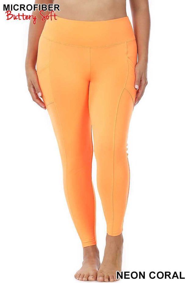 Leg-25 {Soft Delight} Neon Coral Active Leggings PLUS SIZE 1X 2X 3X