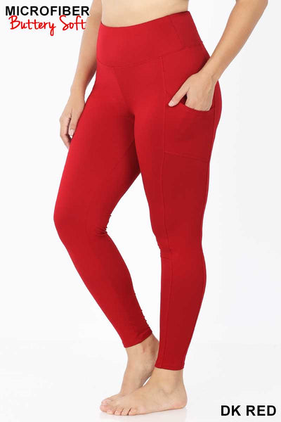Leg-25 {Soft Delight}. Dark Red Active Leggings PLUS SIZE XL 2X 3X