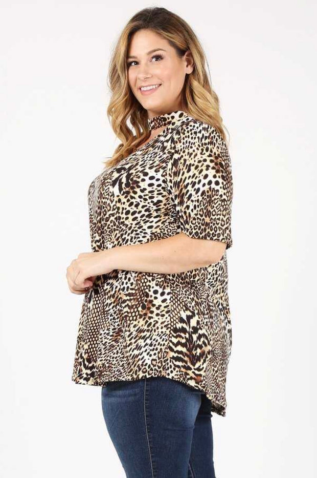 PSS-M {Making Moves} Brown Cheetah Print Mock Neck Tunic Extended Plus