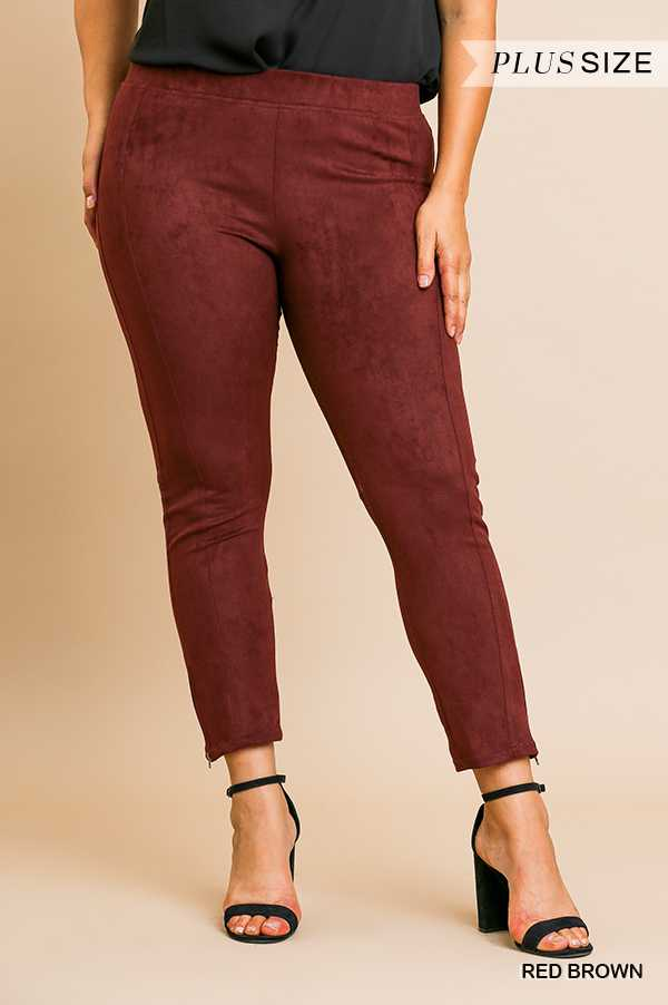 "BT-T {Telling Secrets} ""UMGEE"" Wine Suede Pants with Pockets PLUS SIZE"