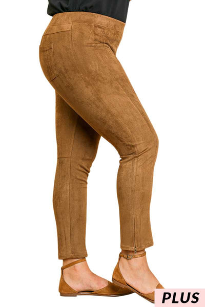 "BT-M {Faith In You} ""UMGEE"" Tan Suede Pants Zipper Legs PLUS SIZE"