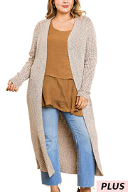 "OT-B {Right For Me} ""UMGEE"" Brown/Cream Mixed Knit Duster"