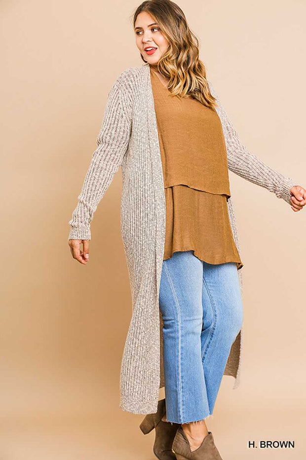 "OT-B {Right For Me} ""UMGEE"" Brown/Cream Mixed Knit Duster  SALE!!"