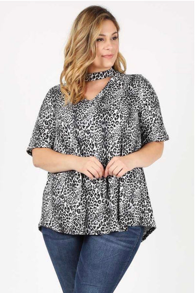 PSS-G {Making Moves} Black Cheetah Print Mock V-Neck Tunic Extended Plus