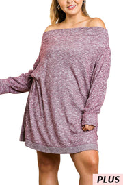 "OS-K {Make A Wish} ""UMGEE"" Off-Shoulder Ribbed Sweater  SALE!!"