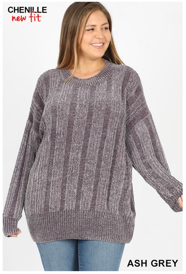 SLS-F {Chestnuts Roasting} Ash Grey Chenille Sweater