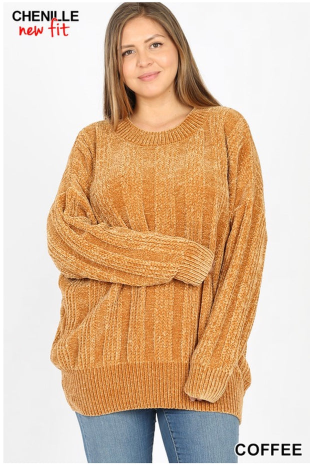 SLS-F {Chestnuts Roasting} Coffee Chenille Sweater