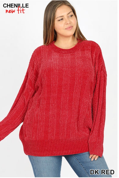 SLS-H {Chestnuts Roasting} RED Chenille Sweater