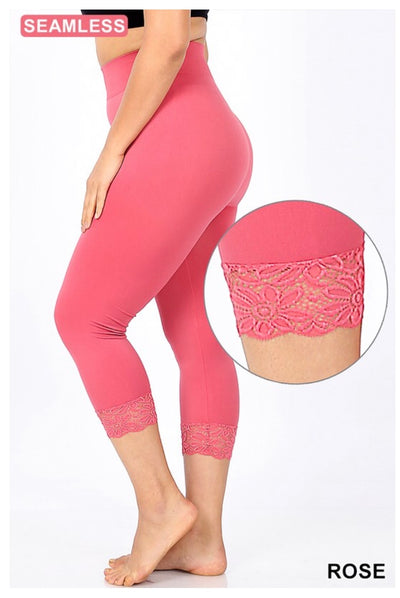 PLS/8 {Curvaceous} Rose Pink Leggings W/ Lace Hem