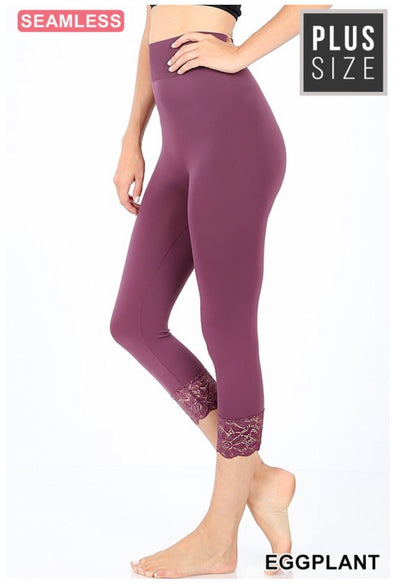 SD/22 {Curvaceous} Eggplant Purple Leggings W/ Lace Hem