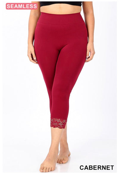 SD/22 {Curvaceous} Cabernet Leggings W/ Lace Hem