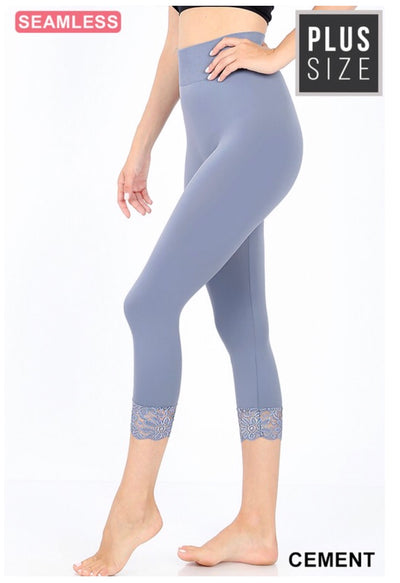 SD/22 {Curvaceous} Cement Blue Leggings W/ Lace Hem