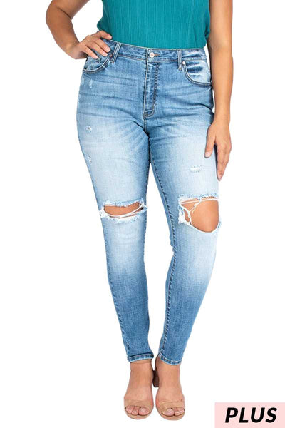 BT-B {Mad About You} Medium Denim Stretchy Jeans with Holes