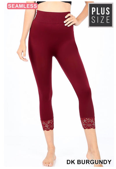SLS/26 {Curvaceous} Burgundy Leggings W/ Lace Hem