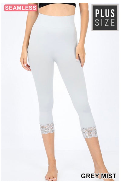 PSS/13 {Curvaceous} Gray Mist Leggings W/ Lace Hem