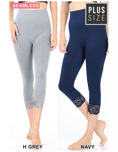 PLS/1 {Curvaceous} H. Gray Leggings W/ Lace Hem