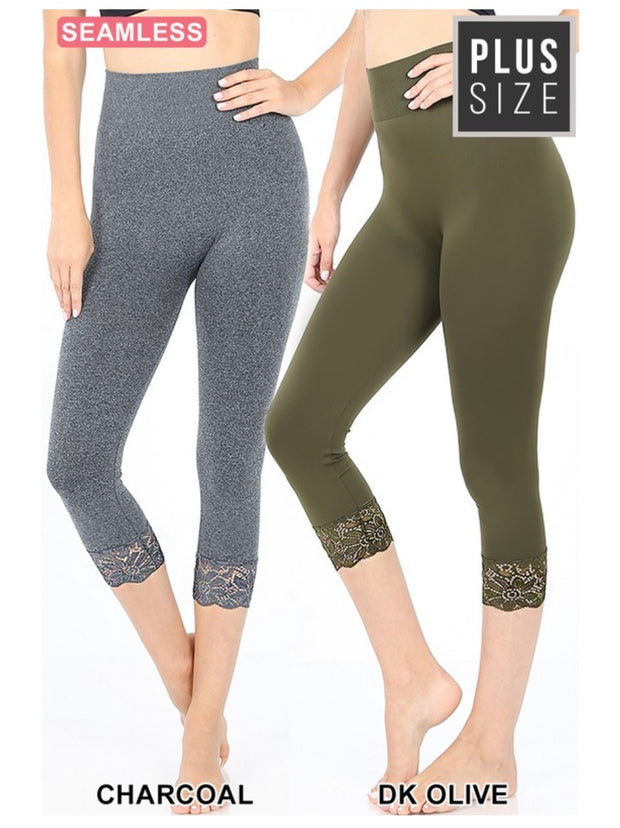 SD/21 {Curvaceous} Charcoal Leggings W/ Lace Hem