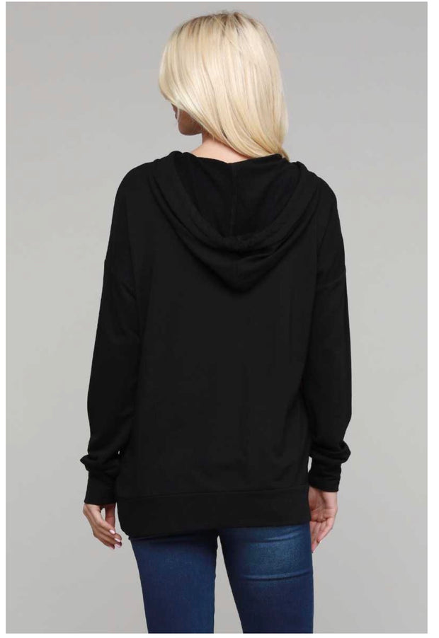 HD-Y {Just So You Know} Black Hoodie with Mauve Detail SALE!!