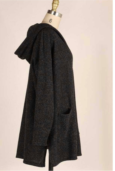 OT-S {Won't Forget} Charcoal Soft Knit Cardigan with Hood (Size Up 1 Size)