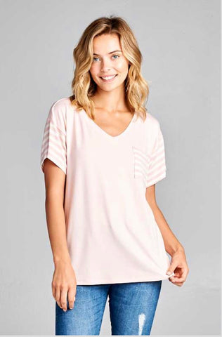 CP-Z {Staying Power} Blush Pink Contrast V-Neck Top w/ Pocket