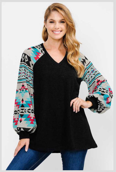 CP-P {Had Your Chance} Black V-Neck Top Aztec Sleeves