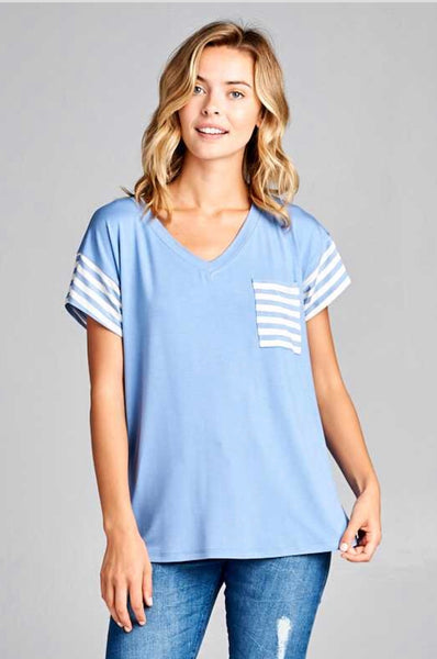CP-M {Staying Power} Baby Blue Contrast V-Neck Top w/Pocket