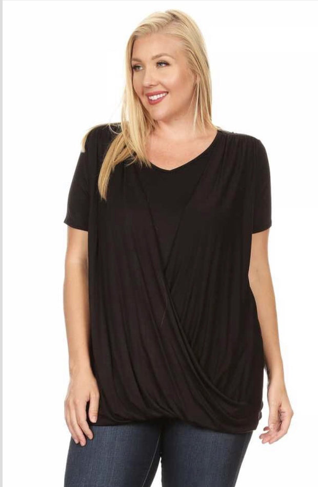 51 SSS-A {Midnight Sweep} Black Tunic w Overlap Plus Size XL 2X 3X