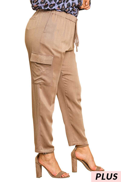 "BT-A {With Every Step} ""UMGEE"" Khaki Cargo Drawstring Pants PLUS SIZE"