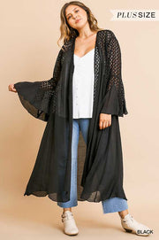 "OT-B {Lead Me On} ""UMGEE"" Long Black Duster Lace Detail"