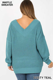 OS-T {Balancing Act} Teal Stretchy Waffle Knit V-Neck Sweater