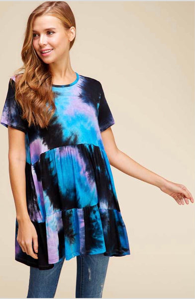 PSS-L {Happy Now} Blue/Lilac Tie-Dye Print Tunic or Dress