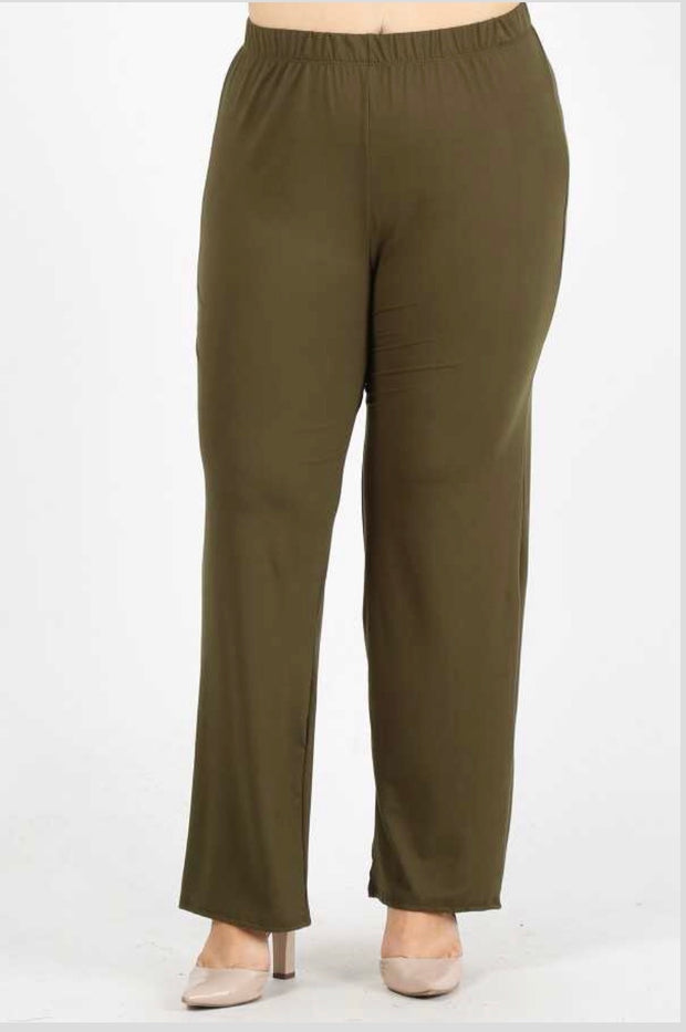 GT/M {No Agenda} Olive Pants Poly-Spandex Soft Feel  SALE!! 1X 2X 3X