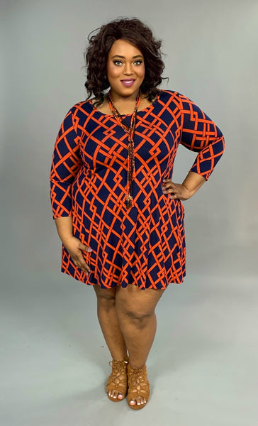 PQ-C Rust/Navy Diamond Print W/ 3/4 Sleeve  SALE!!
