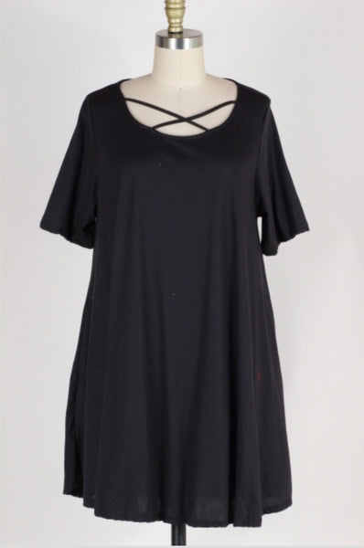 SSS-M {Every Piece Of Me} Black Dress with Criss-Cross Detail Extended Plus