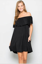 OS-C {Express Yourself} Solid Black Off-Shoulder Dress  Extended Plus SALE!!