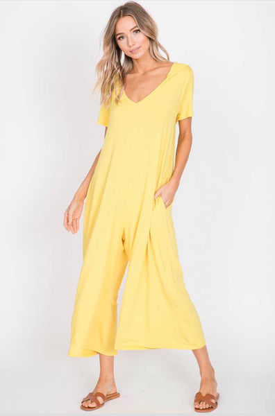 RP-O {Be Original} Yellow Hooded Capri Jumpsuit w Pockets
