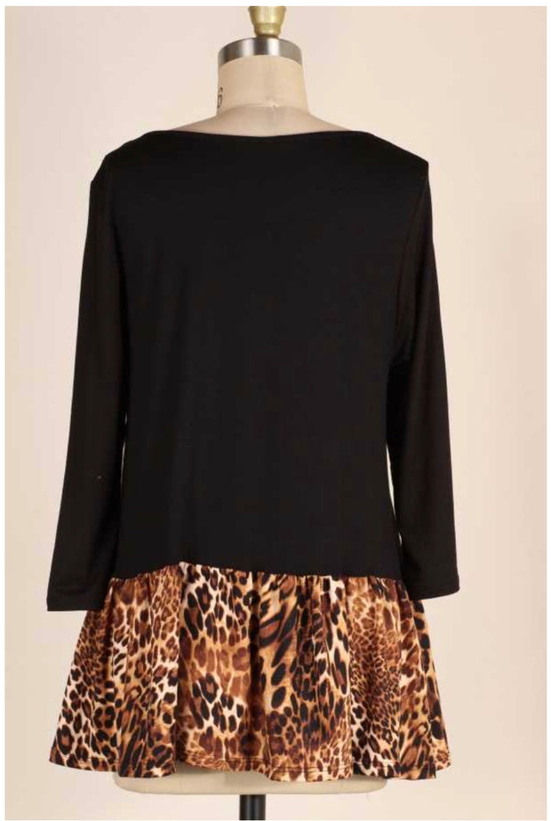 CP-L {The Way You Move} Black Tunic with Leopard Contrast Extended Plus