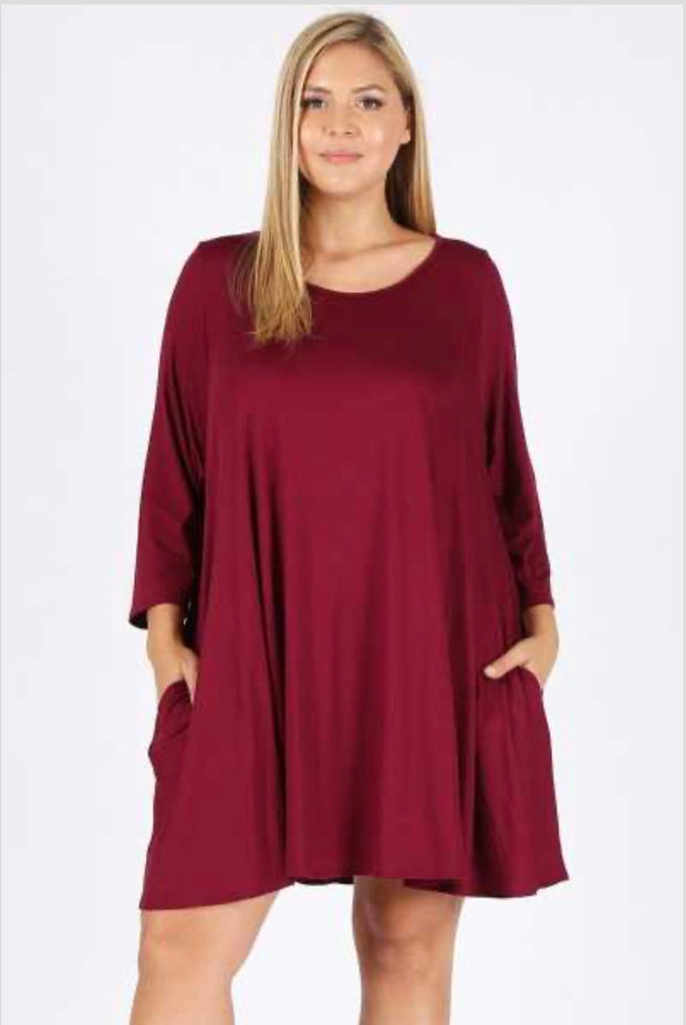 SQ-B {Listen To My Heart} Burgundy Dress with Pockets Extended Plus