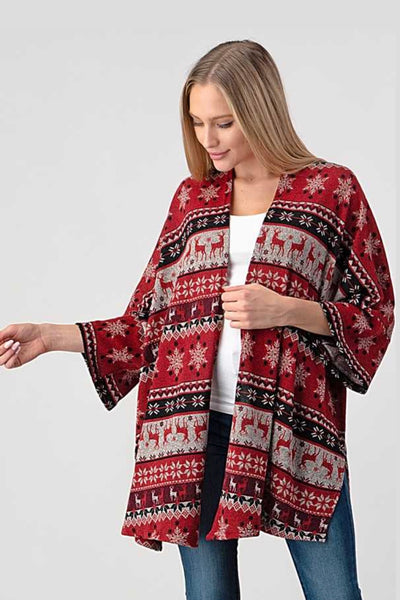 OT-R {Waiting On A Promise} Red Reindeer Cardigan