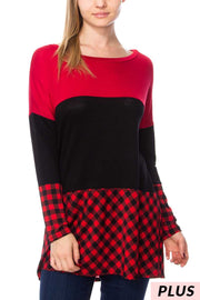 CP-A {My Happy Place} Red/Black Plaid Contrast Top Extended Plus