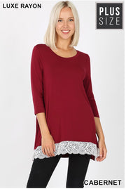 SD-C {Extra Cute} Cabernet Top with 3/4 Sleeves & Lace Hem