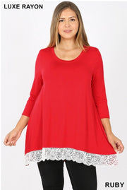 SD-L {Extra Cute} RED Top with 3/4 Sleeves & Lace Hem