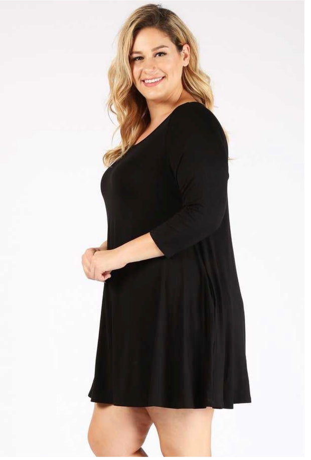 SQ-O {Can't Help Loving You} Solid Black Tunic 3/4 Sleeves EXTENDED PLUS SIZE 3X 4X 5X