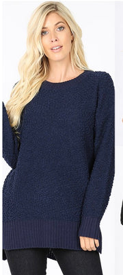 SLS-I {Simple Solution} Navy Popcorn Sweater with Split Sides SALE!!